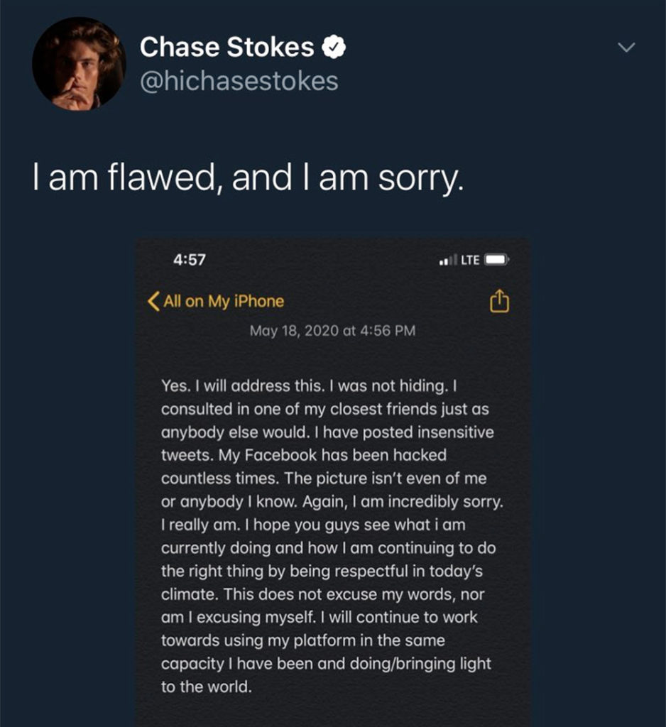 The apology posted to Chase Stokes' Twitter account.