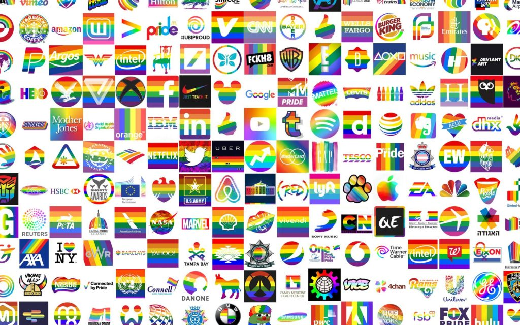 """A collage created by an """"Operation Pridefall"""" organiser of companies to boycott. Members aim to snarl the brand's social media with vile, homophobic messages and memes. (4chan)"""