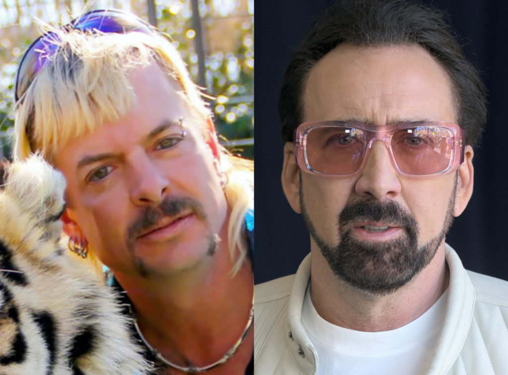 Tiger King star Joe Exotic (L) originally wanted Brad Pitt to play him in any adaptions of his life. We guess he'll have to settle for Nicolas Cage. (Araya Diaz/Getty Images)