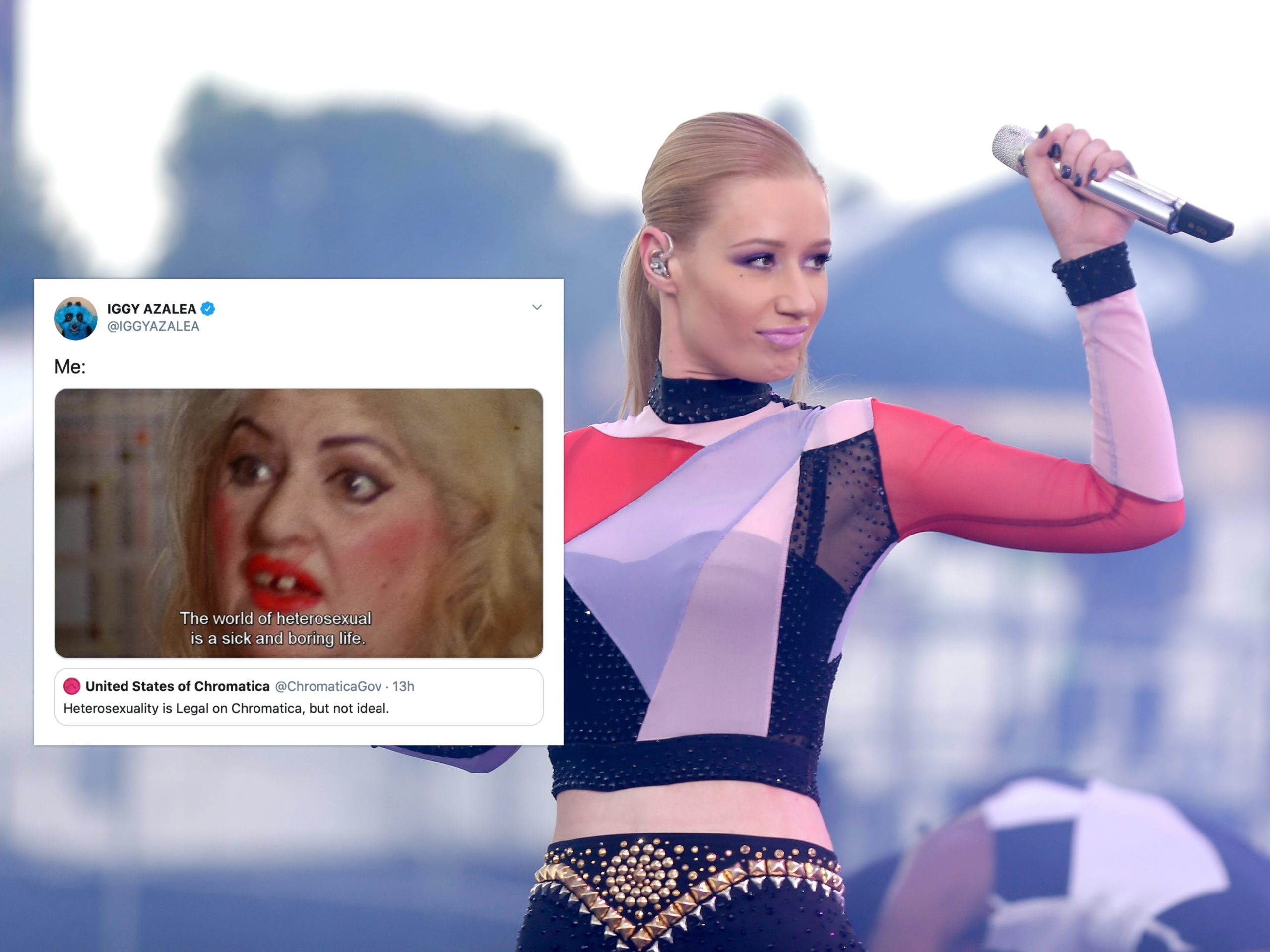 Iggy Azalea shared a meme of an iconic scene in Female Trouble on Twitter. (Isaac Brekken/Getty Images for iHeartMedia)