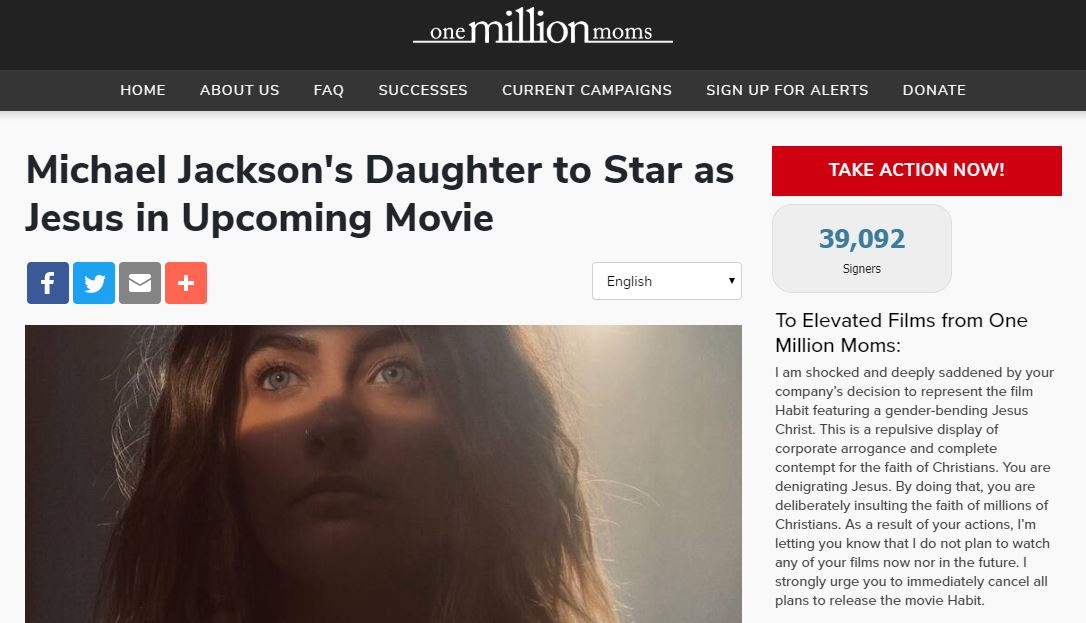 One Million Moms is very upset that Paris Jackson is set to play Jesus Christ