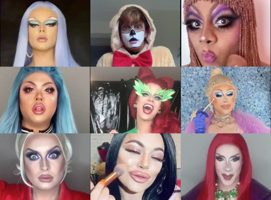 The Drag Race UK queens took part in a pass the brush TikTok challenge and those ketchup-stained joggers you've been wearing for three days just spontaneously combusted. (Screen captures from Twitter)