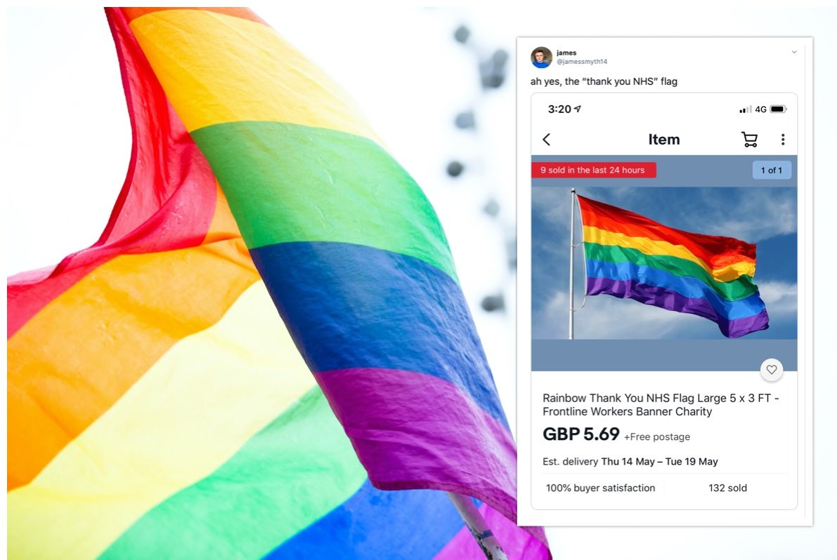 Rainbow Thank You NHS Flag Large 5 x 3 FT Workers Banner Charity Lockdown 2020