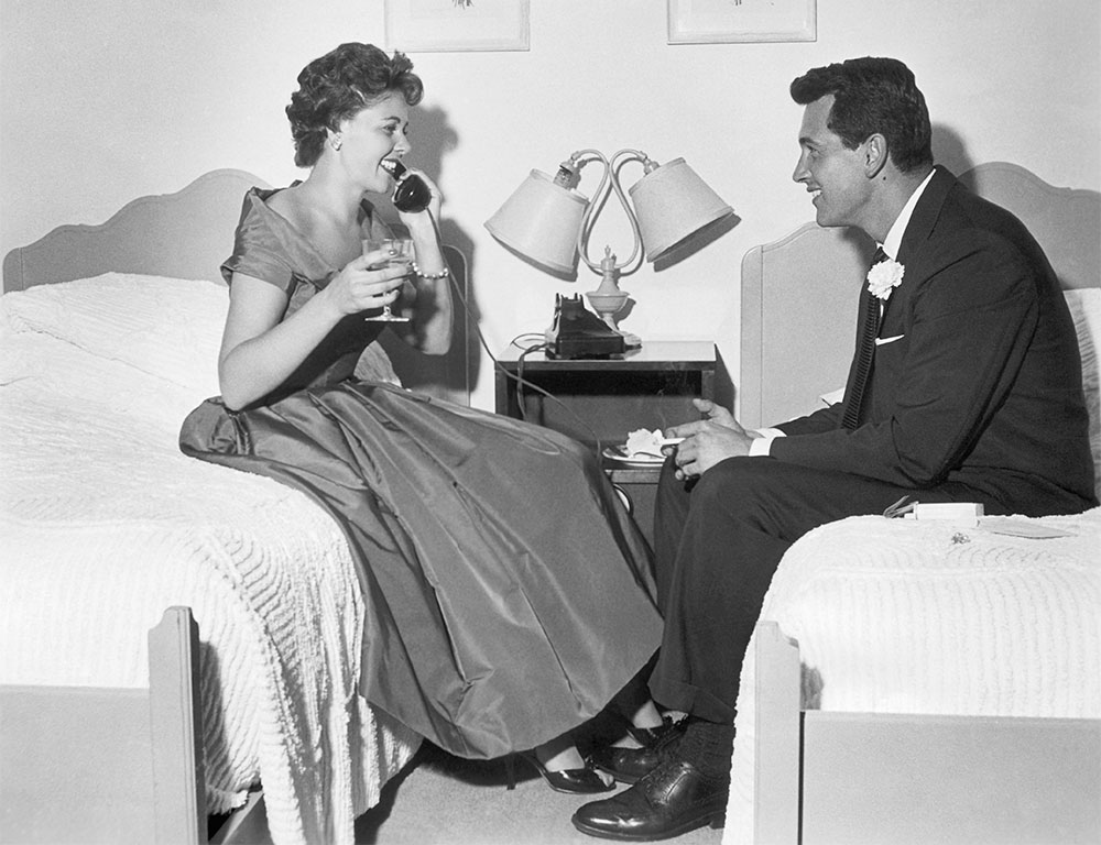 Rock Hudson with his wife Phyllis Gates.
