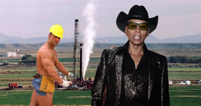 RuPaul infront of fracking equipment
