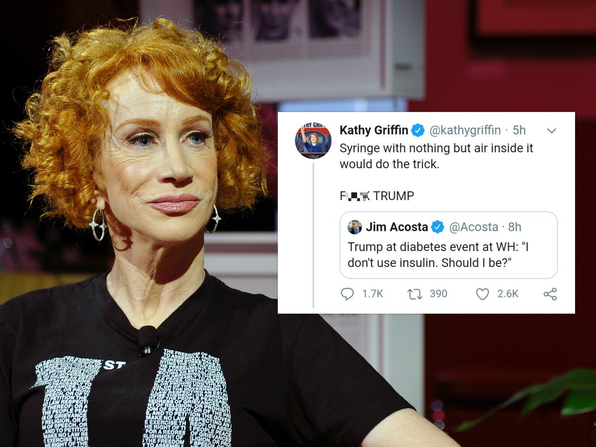 Comediam Kathy Griffin garnered outrage from conservatives for tweeting about US president Donald Trump. (John Sciulli/Getty Images for Playboy Playhouse)