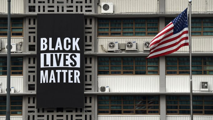US embassy in South Korea takes down Black Lives Matter banner