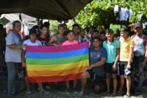 LGBT+ asylum seekers pose for a picture at a temporary shelter in Tecun Uman, Guatemala, on January 19, 2020.