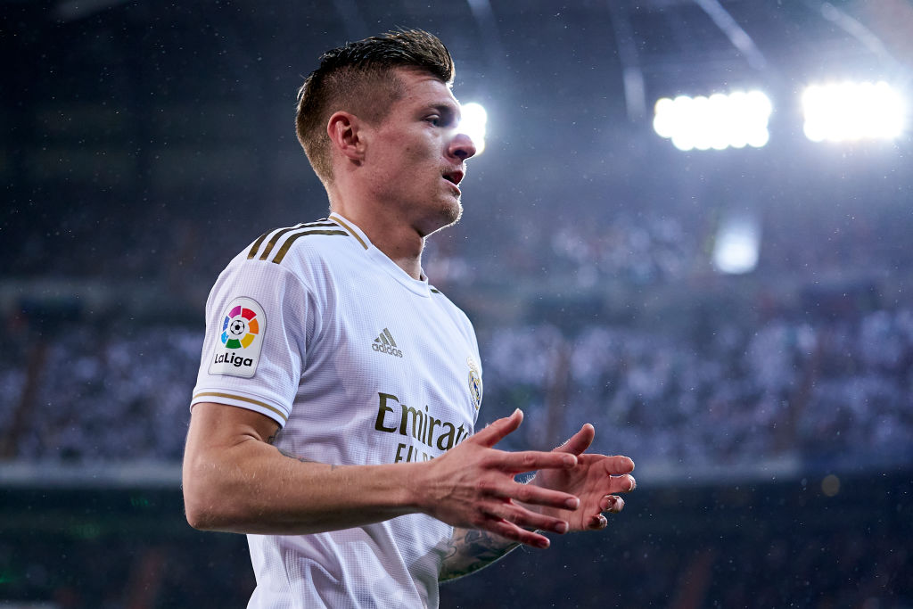 Toni Kroos of Real Madrid CF looks onduring the Liga match between Real Madrid CF and FC Barcelona at Estadio Santiago Bernabeu on March 01, 2020 in Madrid, Spain.