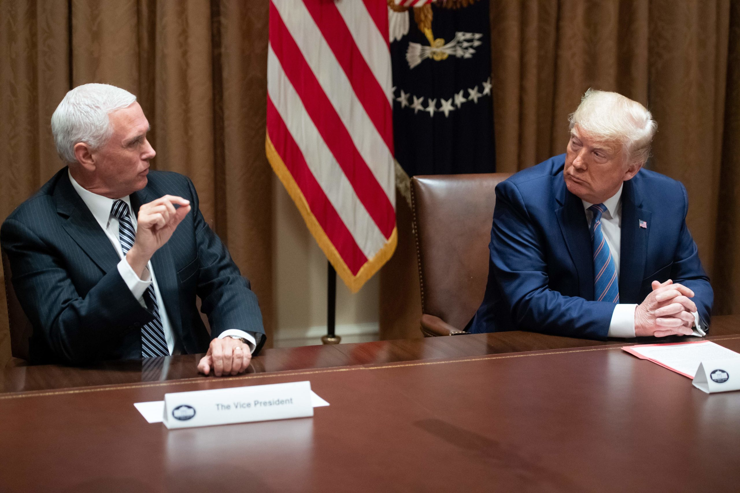 Vice President Mike Pence with US President Donald Trump
