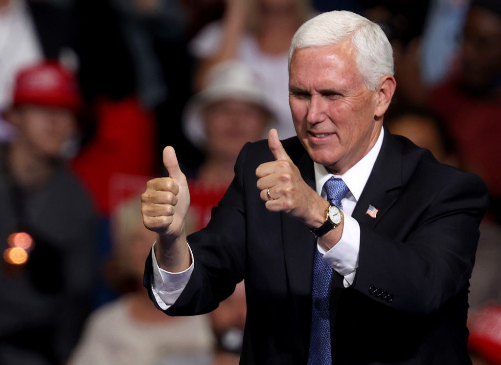 Vice president Mike Pence arrives at a campaign rally at the BOK Center, June 20, 2020 in Tulsa, Oklahoma.