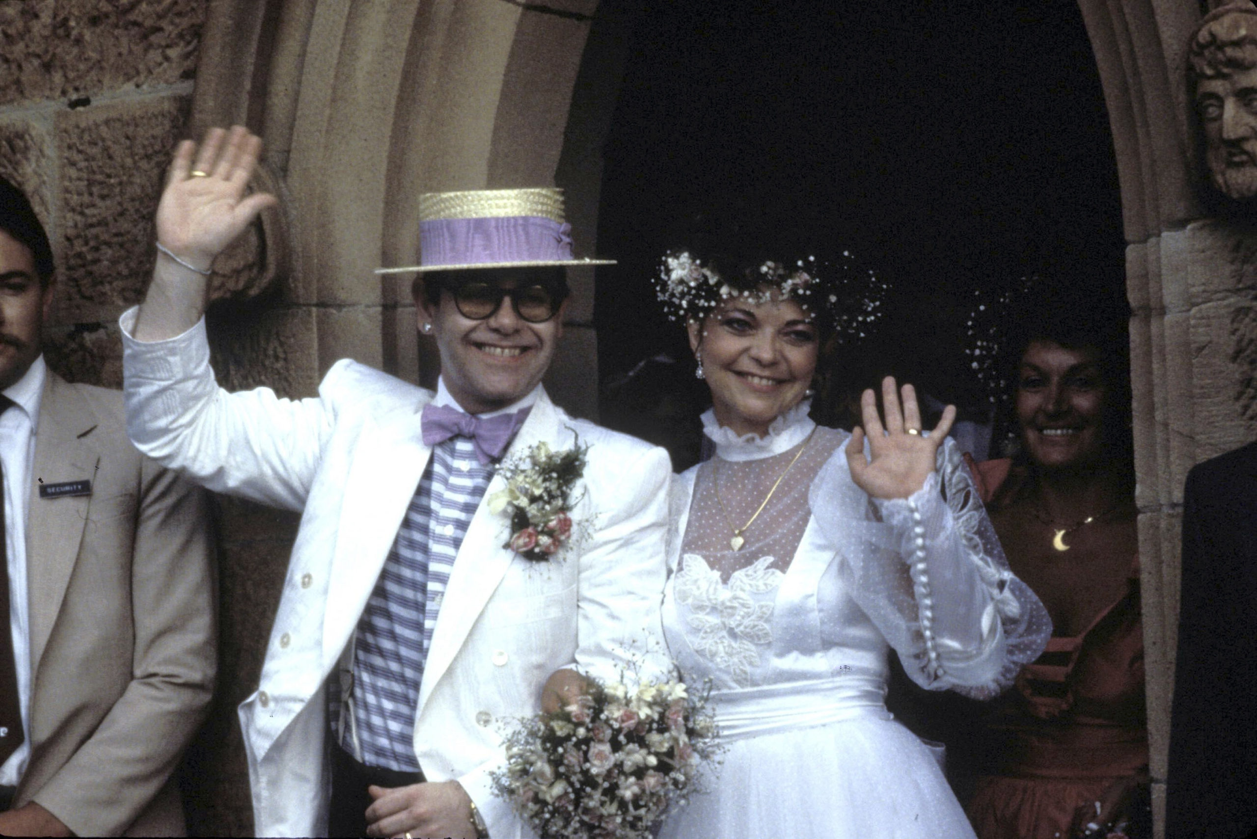 Elton John and Renate Blauel. (Patrick Riviere/Getty Images)