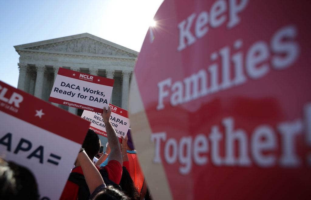 Pro-immigration activists gather in front of the US Supreme Court on April 18, 2016 in Washington, DC. (Alex Wong/Getty Images)