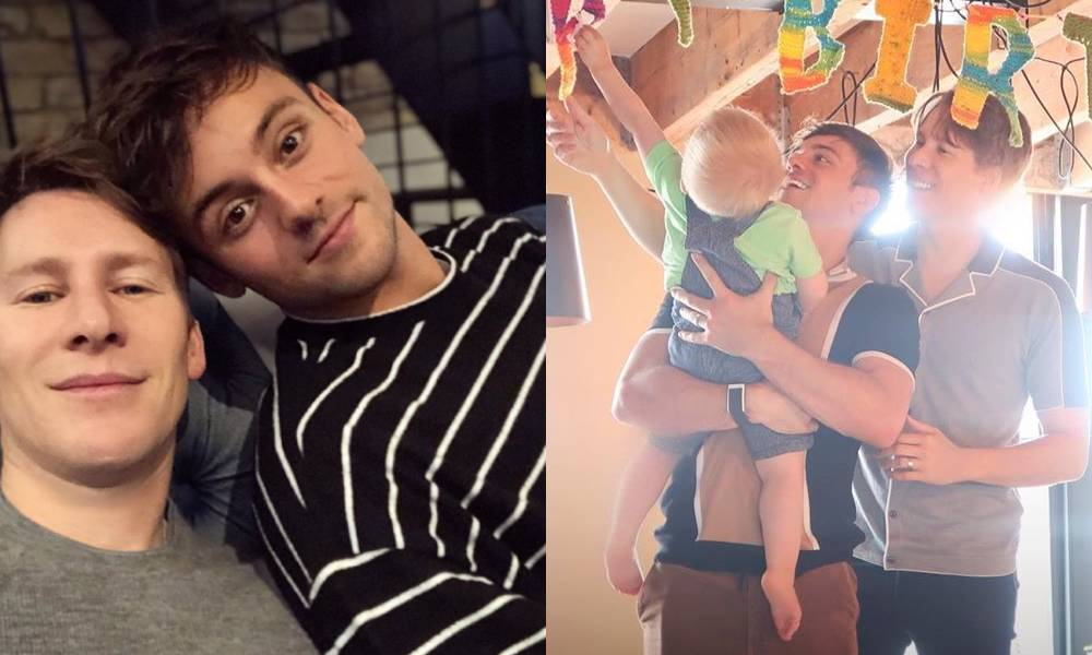Tom Daley, Dustin Lance Black and son Robbie