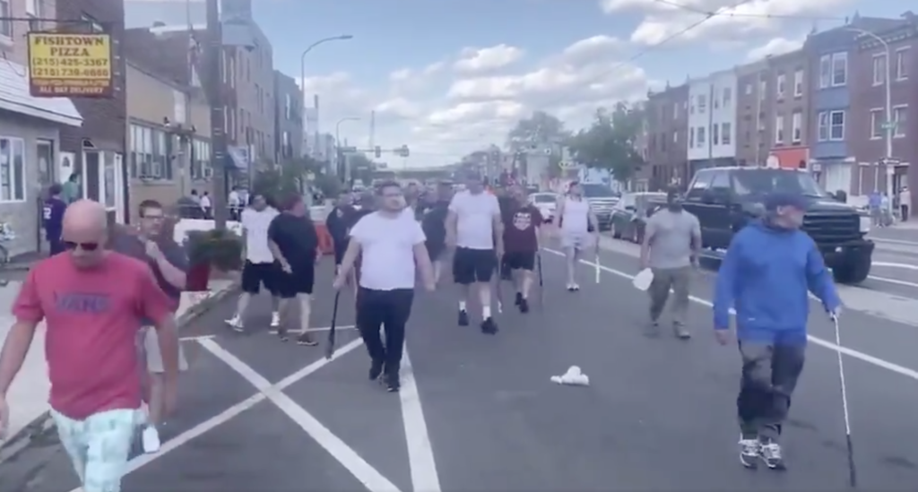 A gang of bat-wielding men battled with Black Lives matter protesters in Philadelphia, Pennsylvania. And the police, witnesses claim, did little to stop them. (Screen capture via Twitter)