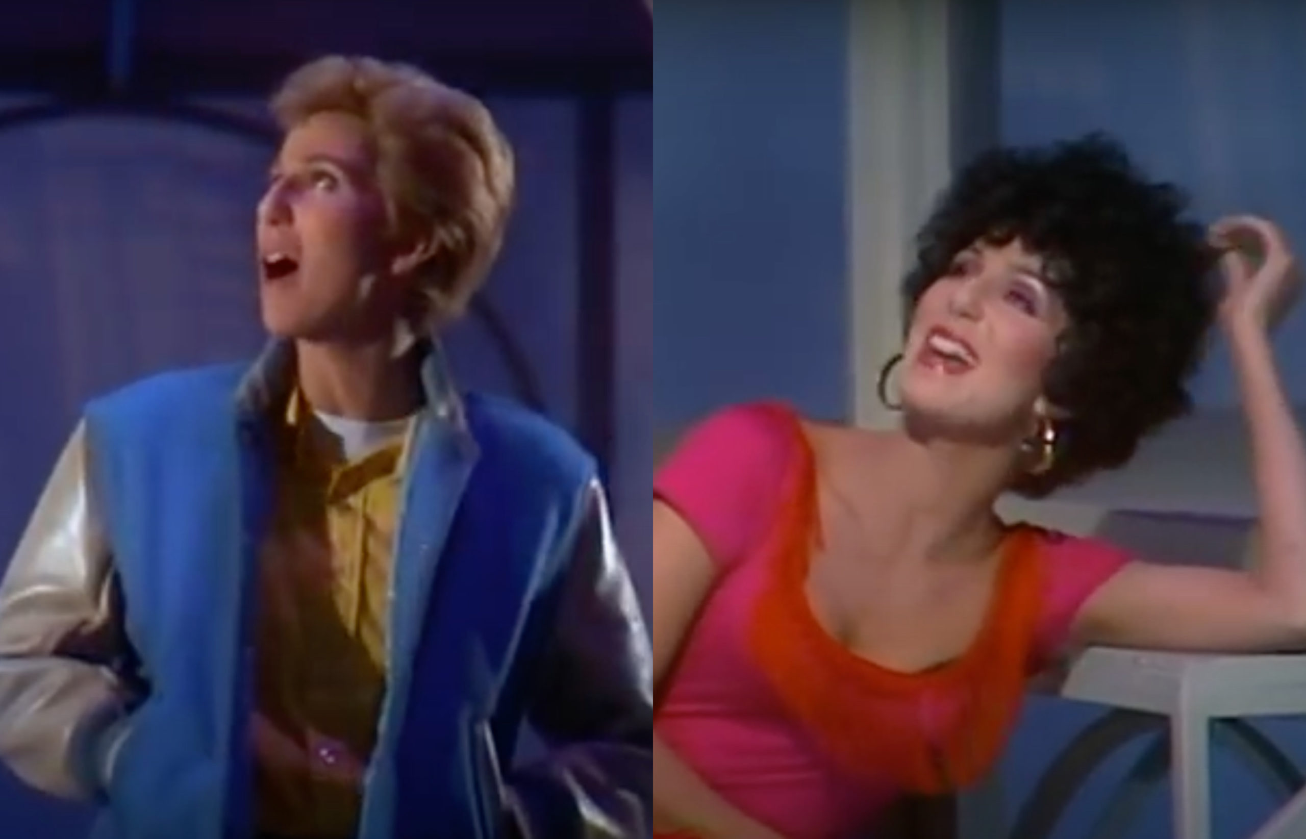 Cher (L) and Cher (R) performing a West Side Storey Medley on Cher... Special. (Screen capture via YouTube)