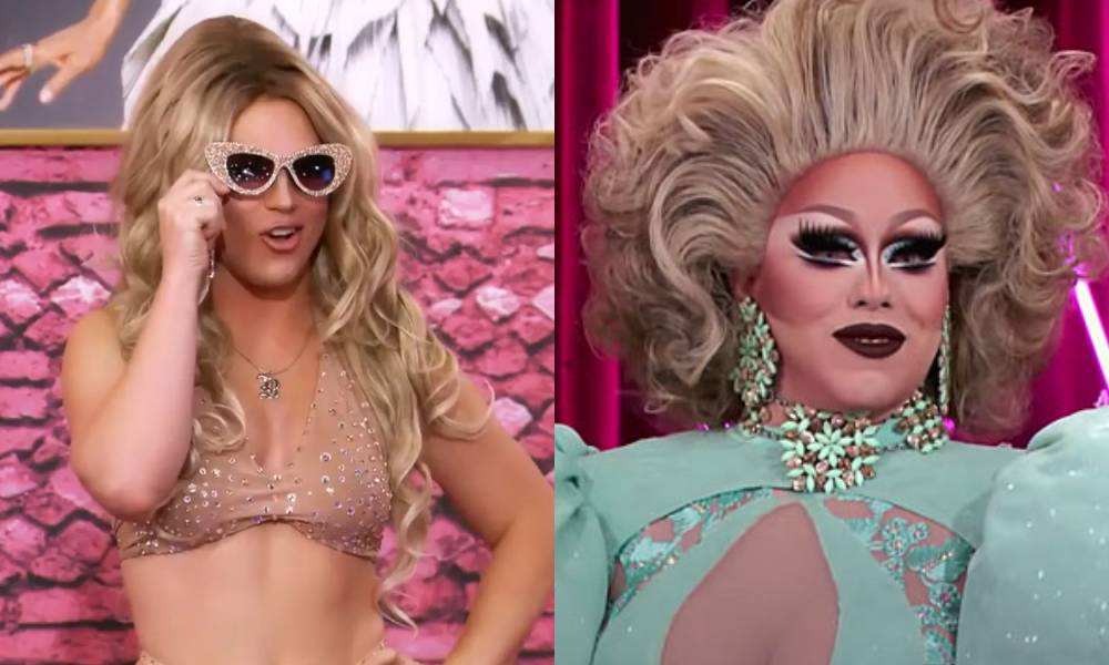 Drag Race stars Derrick Barry and India Ferrah in the All Stars 5 werk room