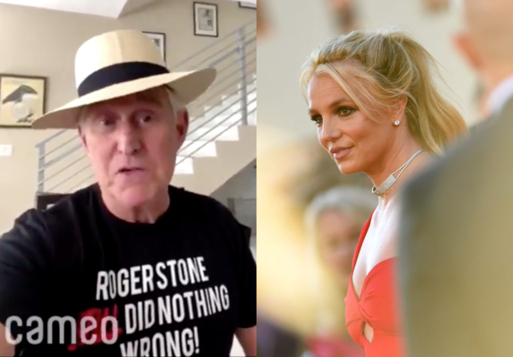 Roger Stone (L) has come out in support of the 'Free Britney Spears' movement. Yes, really. (Screen capture via Cameo/Getty/Valerie Macon)