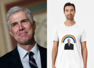 Neil Gorsuch, who dealt a blowback to his conservative allies by backing a pro-LGBT+ ruling, has attracted a new following: Queer men with Redbubble accounts. (Drew Angerer/Getty Images/Redbubble)