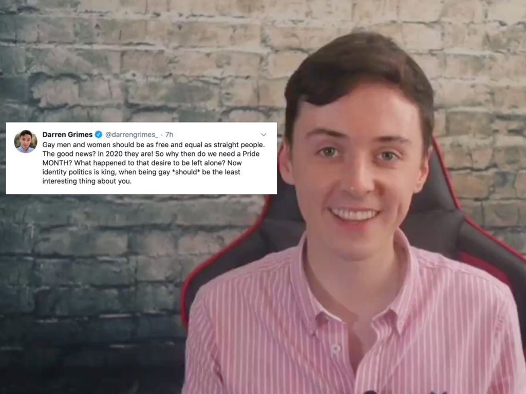 "Darren Grimes tweeted his bemusement at why LGBT+ people ""need"" a Pride Month. (Screen capture via Twitter)"