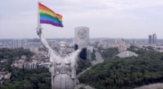 Kyiv Pride activists used a drone to carry a giant rainbow flag to the top of the controversial Soviet-era Motherland Monument