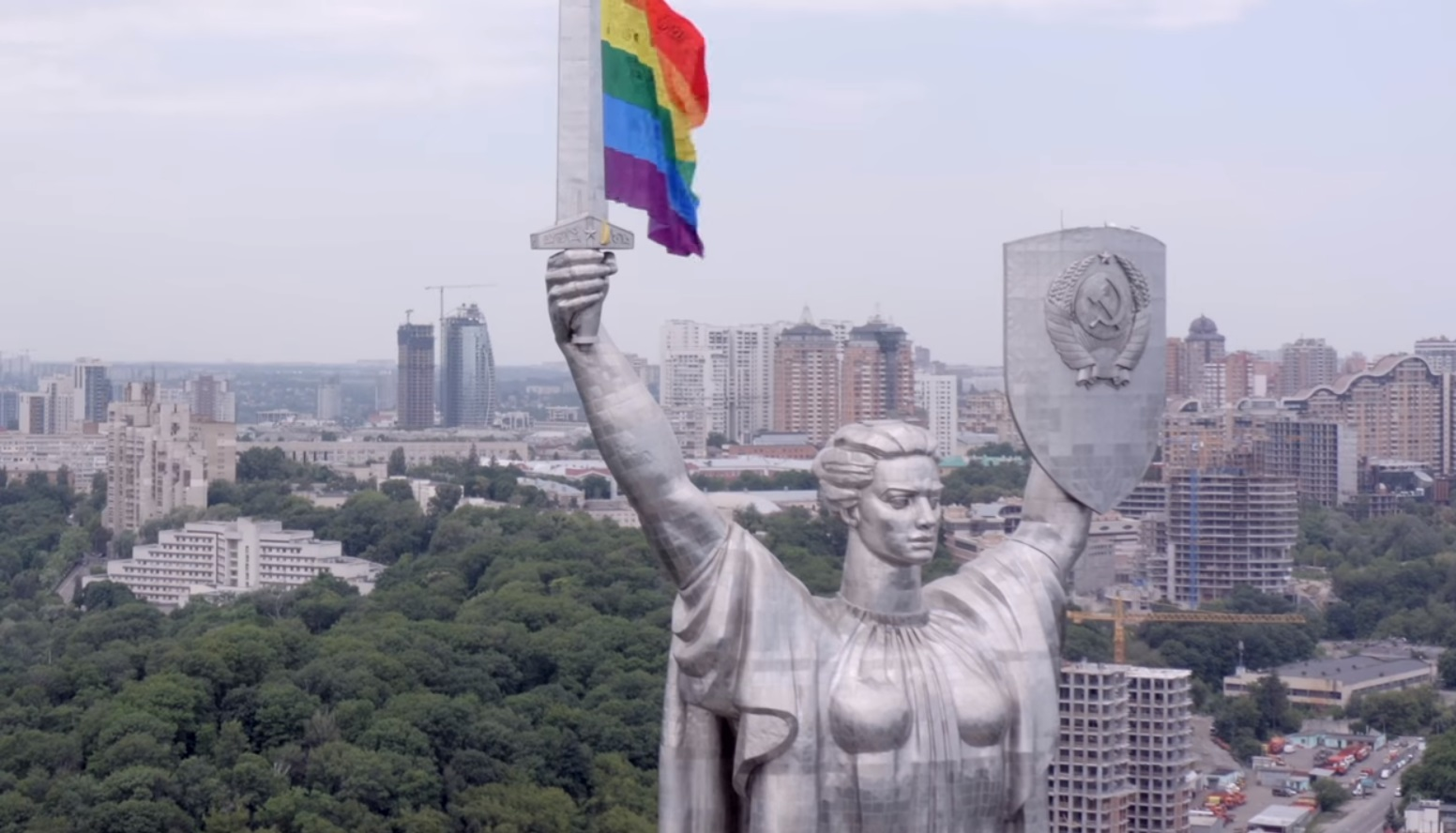 LGBT+ activists from Kyiv Pride devised the stunt after cancelling their 2020 parade