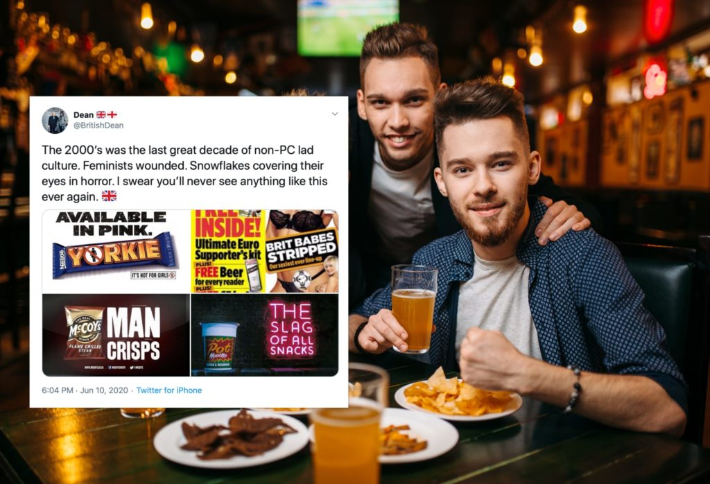 "A man denounced the end of ""non-PC lad culture"" as Twitter's reaction was precisely what you'd expect. (Stock photograph via Elements Envato/Twitter)"