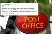 As LGBT+ Pride Months closes, a new hero in the form of Post Office comms employee 'Courney' has emerged and she is effortless in fending homophobes off. (Twitter/PAUL ELLIS/AFP via Getty Images)