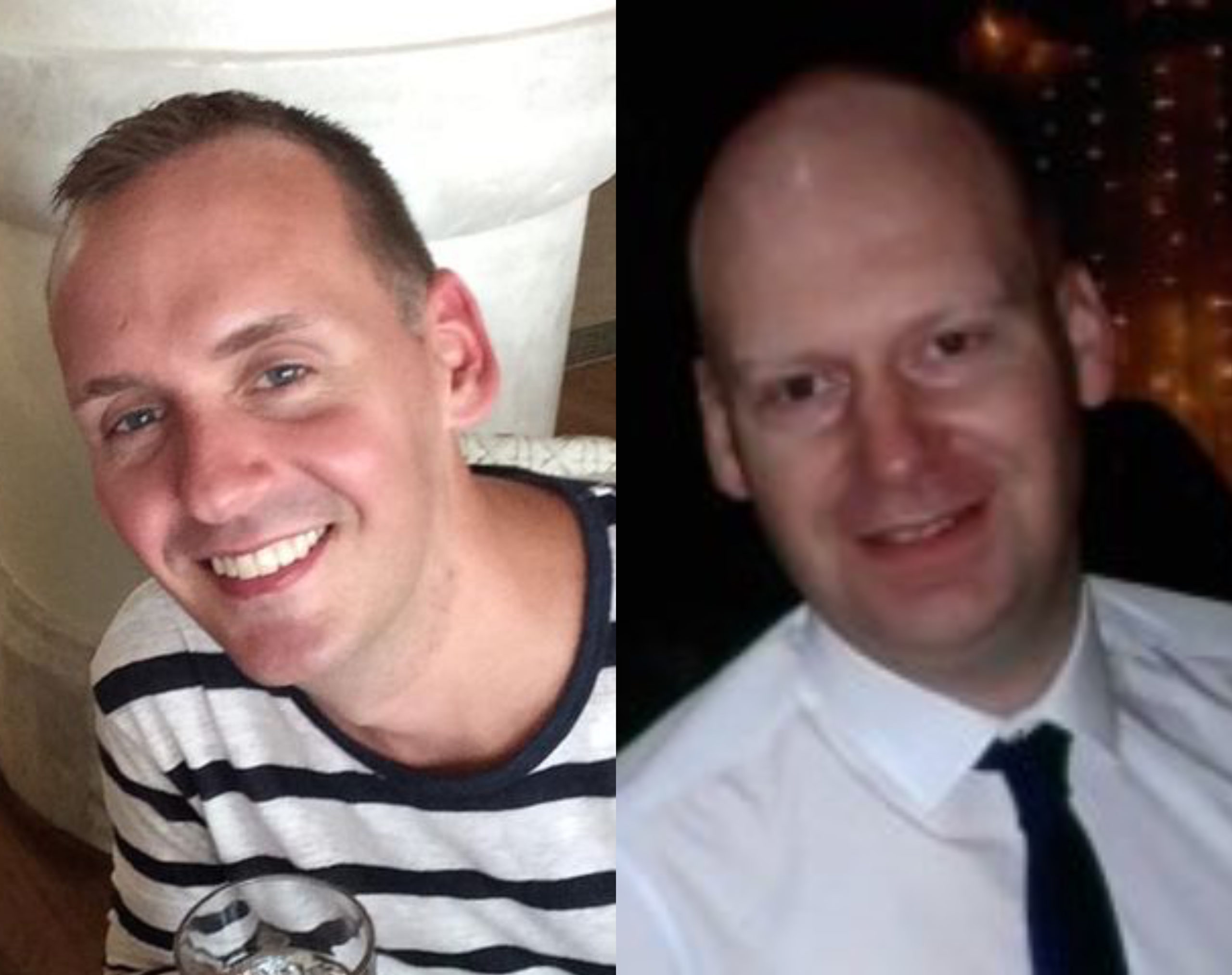 Two queer men who lost their lives after a lone man began stabbing people in Reading, England, have been named as Joe Ritchie-Bennett (L) and James Furlong (R). (Facebook/Thames Valley Police)