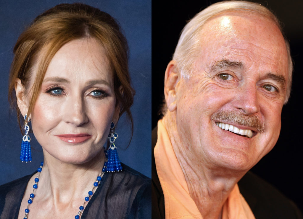 "Actor John Cleese (R) expressed his ""bafflement"" over the controversy surrounding JK Rowling's views on trans rights. (Samir Hussein/WireImage/Mark Metcalfe/Getty Images)"