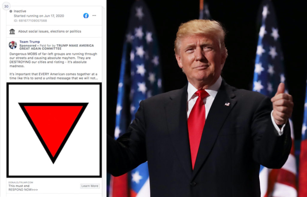 Donald Trump's campaign team weathered criticism for its use of Nazi signage. (Facebook/Chip Somodevilla/Getty Images)