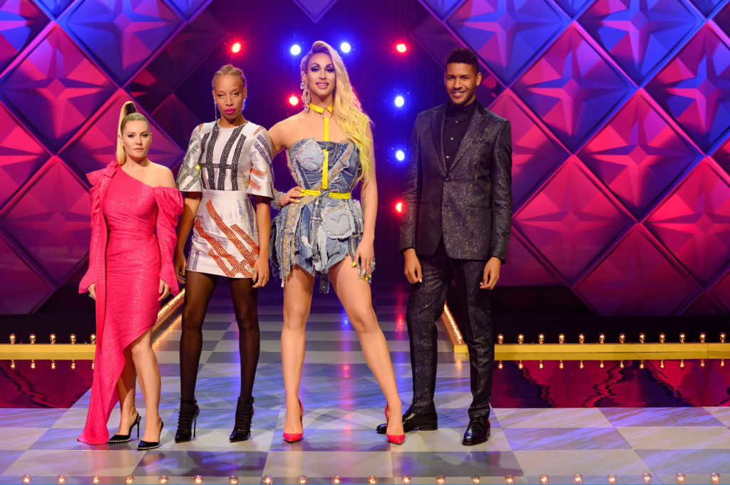 Canada's Drag Race judges with Elisha Cuthbert