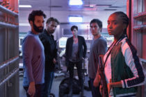 The cast of The Old Guard. Marwan Kenzari as Joe, Matthias Schoenaerts as Booker, Charlize Theron as Andy, Luca Marinelli as Nicky, Kiki Layne as Nile.