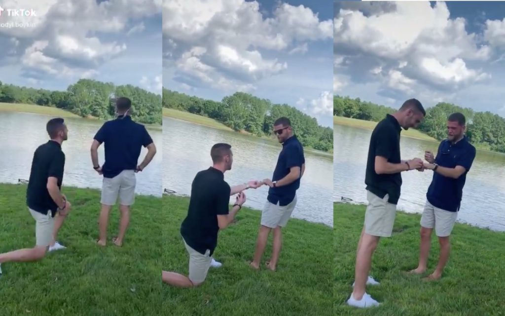 Gay couple Brandon and Cody TikTok Twitter proposal marriage