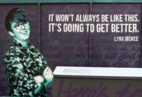 A painted mural featuring murdered journalist Lyra McKee
