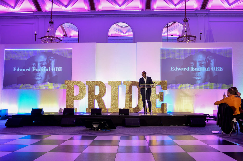 Edward Enninful speaks on stage at the Pride In London Gala Dinner 2019. (Jeff Spicer/Getty Images for Pride in London)