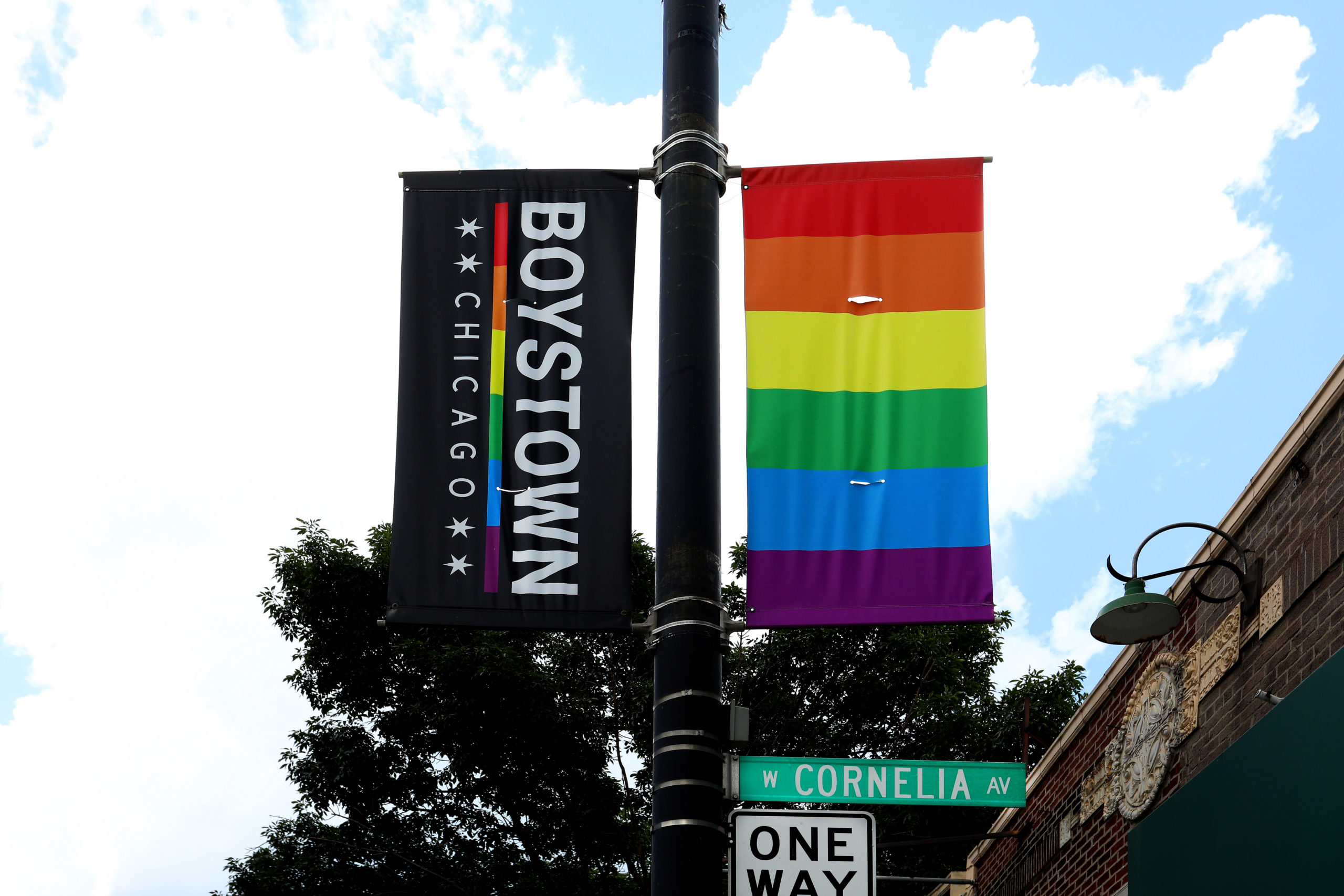 A Boystown Chicago banner hangs along Cornelia Avenue in the Boystown Lakeview neighborhood in Chicago, Illinois. (Raymond Boyd/Getty Images)