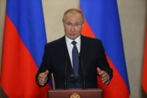 Russian President Vladimir Putin on March 18, 2020 in Sevastopol, Crimea, Ukraine.