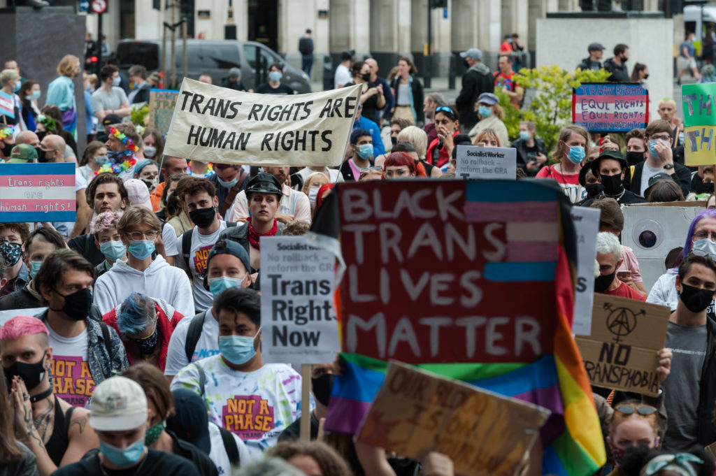 Transgender people and their supporters gather in Parliament Square to protest against potential changes to the Gender Recognition Act on 04 July, 2020 in London, England. (Wiktor Szymanowicz/Barcroft Media via Getty Images)