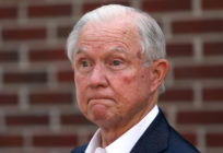Jeff Sessions addresses the media after voting in the Alabama Republican primary runoff for the U.S. Senate on July 14, 2020 in Mobile, Alabama.