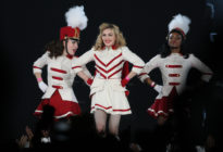 Madonna performs on stage during her MDNA tour at Saint Petersburg's Sports and Concert Complex on August 9, 2012. (OLGA MALTSEVA/AFP via Getty Images)
