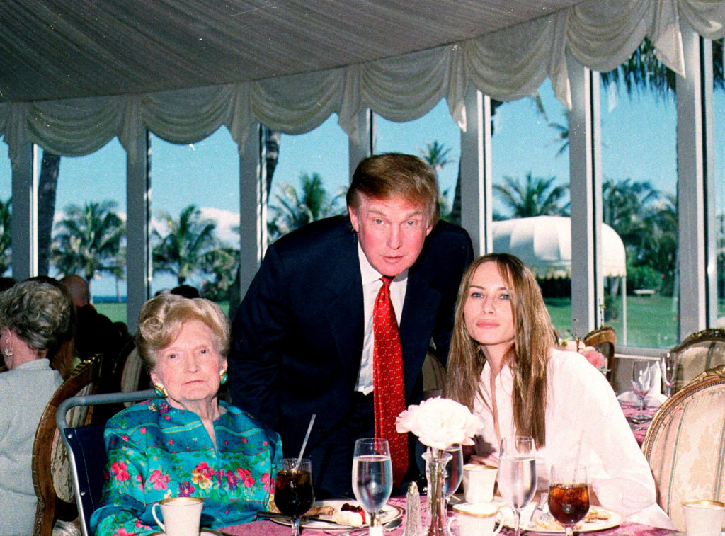 (L-r) American socialite Mary Trump, her son, Donald Trump, and Melania Trump. (Davidoff Studios/Getty Images)