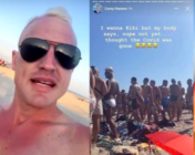 On a sweltering July weekend, hundreds of maskless party revellers packed the Fire Island Pines even as the existence of a viral contagion is still a thing. (Screen captures via Instagram)