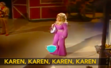 "An American late night talk show parodied ""Jolene"", by Dolly Parton and made it all about ""Karens"". (Screen capture via YouTube)"