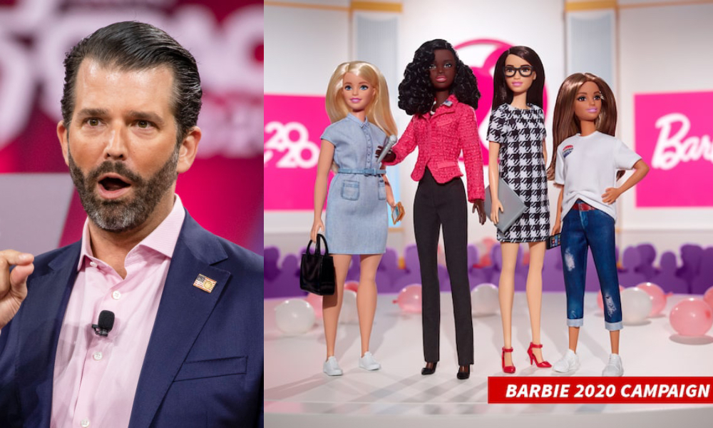 "Donald Trump Jr, who exists, and the ""Barbie Campaign Team"" line. (Samuel Corum/Getty Images/Mattel)"