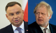 Andrzej Duda (L) netted praise from British premier Boris Johnson after being re-elected Polish president. (Sean Gallup via Getty Images/Chris J Ratcliffe/Getty Images)