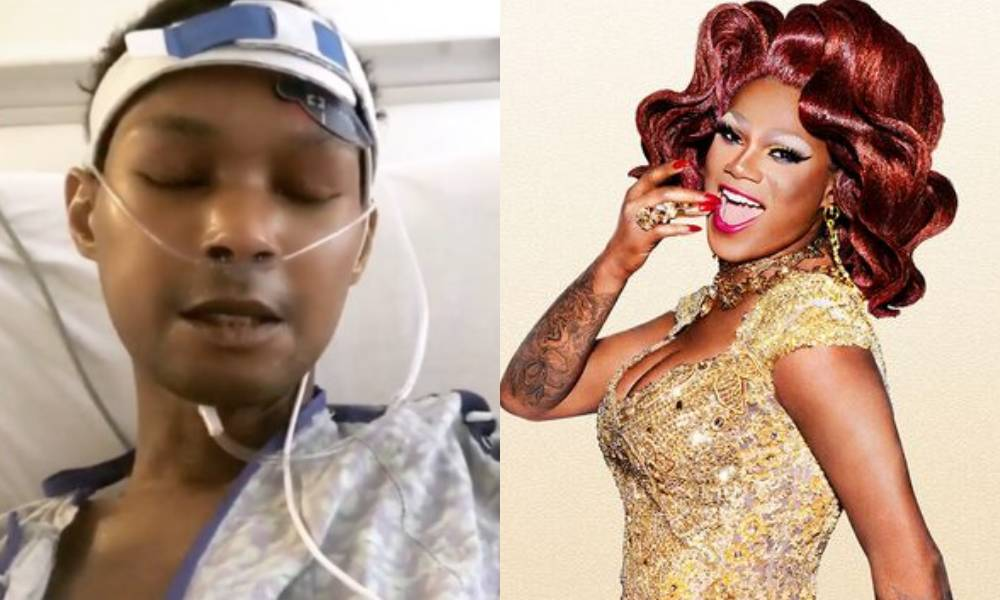 Chi Chi DeVayne in a hospital bed with tubes attached / her All Stars 3 promo picture