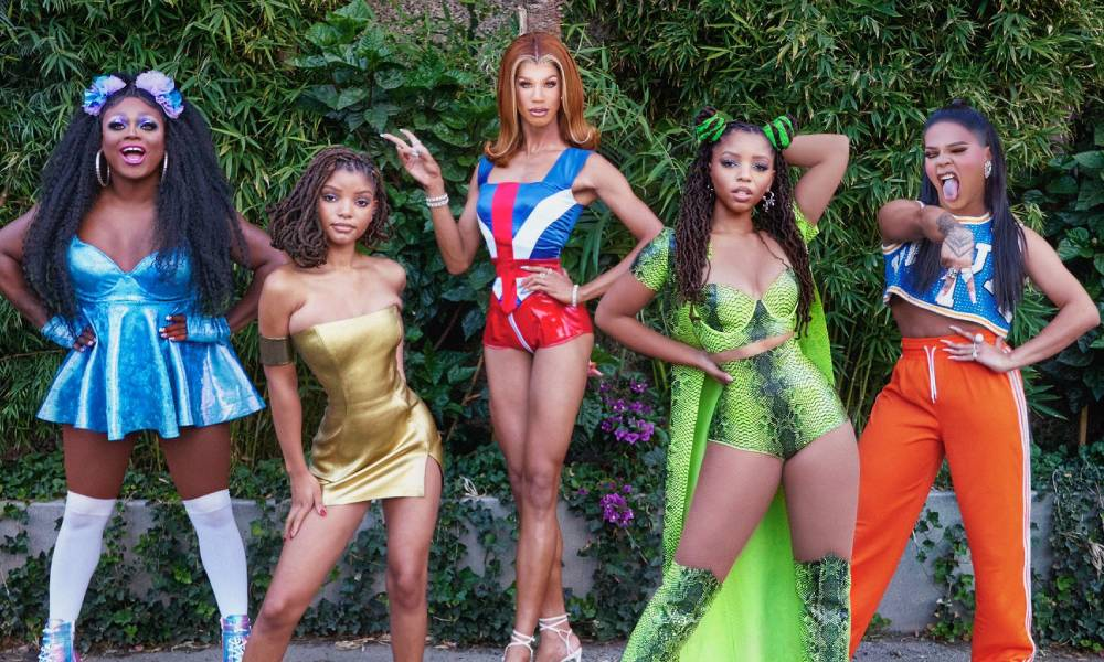 Mayhem Miller, Halle Bailey, Naomi Smalls, Chloe Bailey and Vanessa Vanjie Matteo dressed as Baby, Posh, Ginger, Scary and Sporty Spice respectively