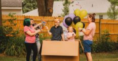 Parents throw heart-warming, belated gender reveal party for trans son
