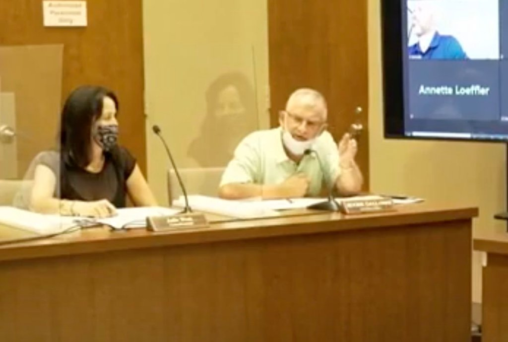 Indiana councillor Roger Galloway (R) made controversial comments at a city council meeting. (Screen capture via Twitter)